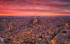 Обои свет, Франция, Париж, дома, город, огни, вечер, башня, Эйфелева