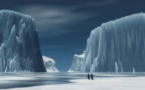 Обои пингвины, горы, Лед