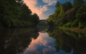 Обои природа, парк, река, арка, водоем, деревья.мостик