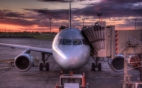 Картинка самолет, восход, HDR, Канада