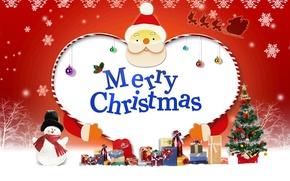 Обои новый год, подарки, Санта, Mery Christmas