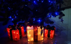Картинка свет, подарок, елка, подарки, new year, гирлянда, качество, christmas tree, presents