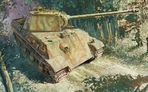 Картинка рисунок, арт, Пантера, танк, MAN, Panther, PzKpfw V, Panzerkampfwagen V, немецкий средний танк, Т-5, Т-V