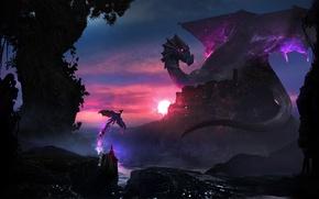 Картинка фантазия, магия, дракон, шляпа, маг, защитник