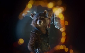 Обои yuusha, wallpaper, rifle, suit, Baby Groot, cinema, film, baby Groot, Marvel, animal, Bradley Cooper, gun, ...