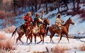 Картинка зима, лес, пейзаж, ручей, лошадь, картина, индейцы, дозор, Martin Grelle, On A Winter Quest