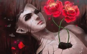 Картинка девушка, цветы, трещины, сюрреализм, кукла, разбитая, арт