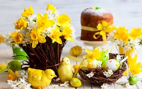 Картинка цветы, яйца, весна, Пасха, статуэтка, выпечка, Spring, нарциссы, сувенир, Easter, baking, Daffodils
