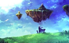 Обои водопад, птицы, небо, Люди, летающий островок