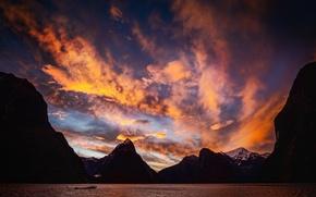 Картинка закат, Новая Зеландия, New Zealand, Sunset, Milford Sound