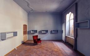 Картинка red, blue, window, bedroom, sunlight, armchair