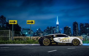 Обои bugatti, veyron, supersport, pur blanc, nyc, new york, side, nigth