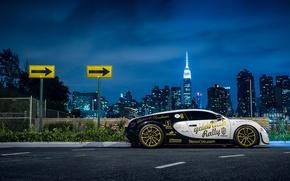 Картинка Bugatti, Veyron, New York, NYC, Side, Supersport, Nigth, Pur Blanc