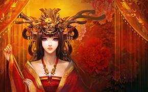 Картинка украшения, цветы, Девушка, голубые глаза, головной убор