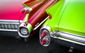 Обои ретро, фары, Cadillac, 1960, классика, вид сзади, 1959