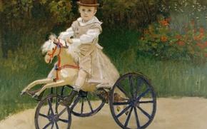 Картинка картина, Клод Моне, жанровая, Жан Моне на Механической Лошадке