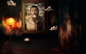 Картинка облака, фантазия, портрет, арт, мим