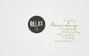 Картинка надпись, минимализм, relax, слова, minimalism, 1920x1200, words, дни недели, lettering, week days