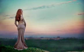 Картинка фигура, платье, формы, рыжеволосая, талия