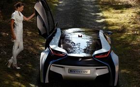 Картинка авто, девушка, BMW