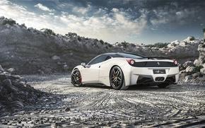 Картинка Феррари, Ferrari, 458, White, Italia