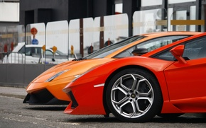 Картинка оранжевый, красный, фары, Lamborghini, колесо, red, диск, gallardo, orange, rim, aventador, ламборгини, авентадор, mirror, гайардо