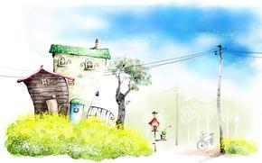 Картинка дерево, столб, дверь, домики, растения.фон