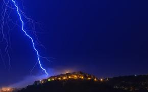Обои Альпы, молния, свет, Франция, Лазурный берег, дома, огни, ночь, Прованс, небо, alain calissi Photography, Гатьер