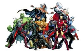 Картинка фон, Hulk, Storm, Iron Man, Captain America, Thor, Marvel Comics, Cyclops, The Thing, Steve Rogers, …