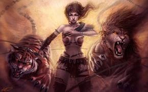Картинка девушка, тигр, лев, ярость