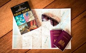 Обои карта, очки, New York, паспорт