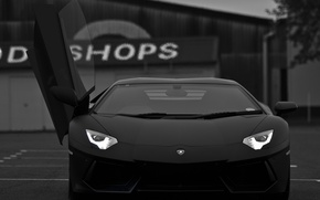 Картинка черный, суперкар, lamborghini, aventador, lp700-4
