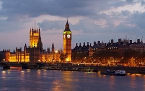 Картинка город, река, Англия, Лондон, вечер, Великобритания, Темза, Биг-Бен, Вестминстерский дворец, Big Ben