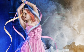 Картинка девушка, лицо, волосы, руки, арт, балерина, ленточки, розовое платье