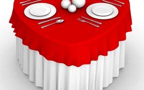 Картинка фото, Сердце, Нож, Стол, Ложка, Тарелка, День святого Валентина, Сервировка, Вилка. 3D Графика
