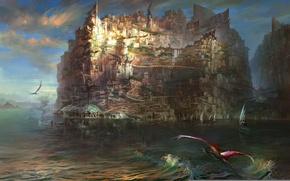 Картинка город, озеро, остров, парусник, драконы, арт