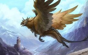 Картинка девушка, полет, горы, замок, башня, крылья, арт, руины, грифон