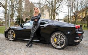 Картинка Girl, Ferrari, Car, Leather, Blode