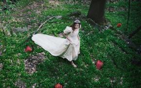 Картинка лес, ягоды, платье, клубника, девочка, диадема