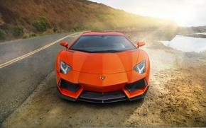 Картинка supercar, orange, Lamborghini Aventador