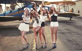 Обои самолет, девушки, азиатки, kpop, Bora, Hyolyn, sistar, Dasom, Soyou