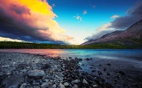 Картинка небо, облака, закат, горы, озеро, камни