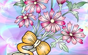 Картинка цветы, вектор, лента, открытка