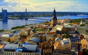 Картинка небо, мост, река, дома, панорама, Рига, Латвия
