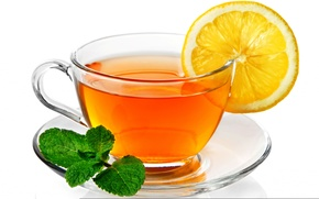 Обои лист, лимон, чай, чашка, блюдце, белый фон, lemon, tea