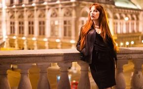 Картинка девушка, лицо, стиль, фон, волосы, юбка, куртка, рыжая, ножки