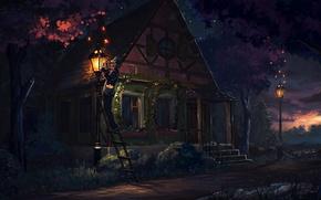 Картинка дерево, человек, дом, лестница, арт, фонарь, закат