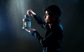 Картинка фон, лампа, парень