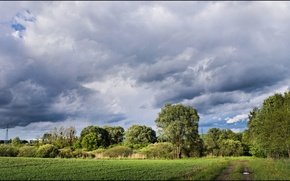 Картинка поле, небо, облака, деревья, Природа, тропа, sky, trees, field, nature, clouds, path
