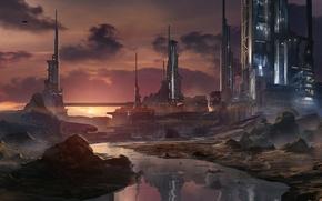 Картинка закат, город, река, арт, башни, Waqas Mallick